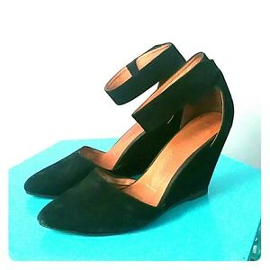 Jeffrey Campbell black high wedge with ankle strap